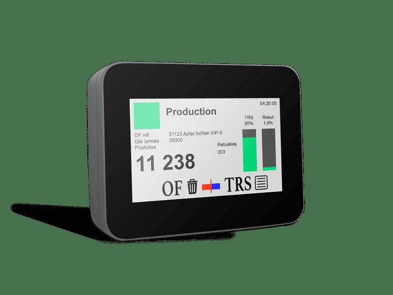 Conçu spécialement pour le suivi de production, le boîtier VIP-3 est l'objet connecté de l'atelier. Il enregistre les états machines, comptabilise les OF et les temps d'intervention en apportant un retour d'information direct à son utilisateur.